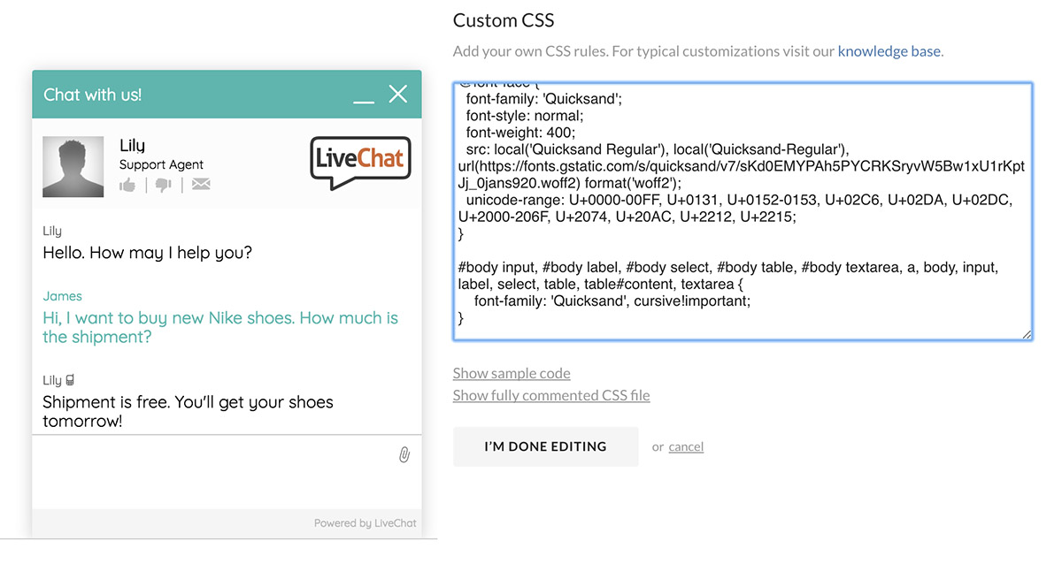 LiveChat Custom Fonts